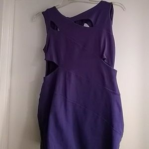 Purple BEBE mini cut out dress